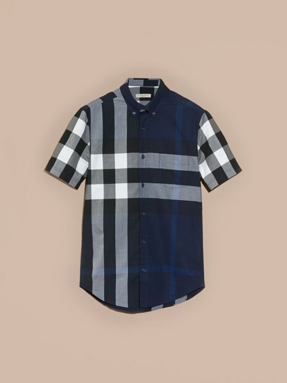 Indigo blue Short-sleeved Check Cotton Shirt Indigo Blue - cell image 3