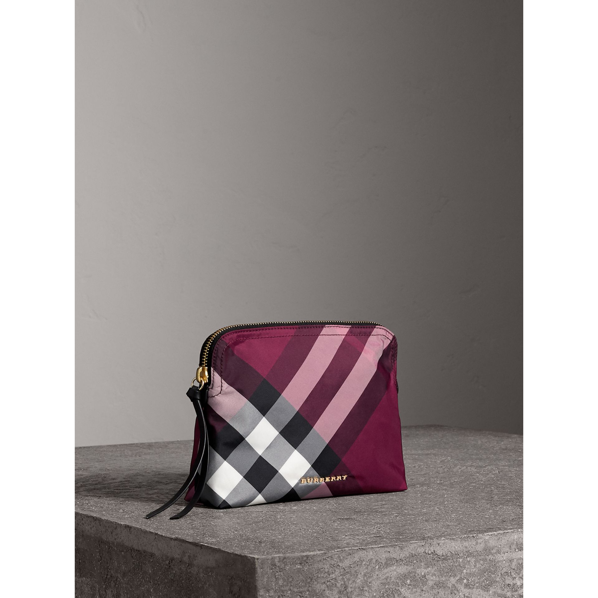Large Zip-top Check Pouch in Plum - Women | Burberry - gallery image 5