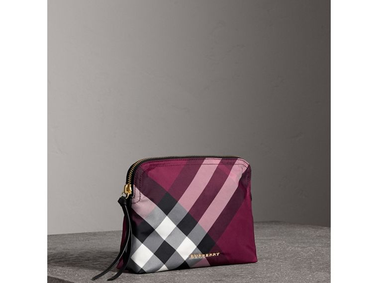 Large Zip-top Check Pouch in Plum - Women | Burberry - cell image 4