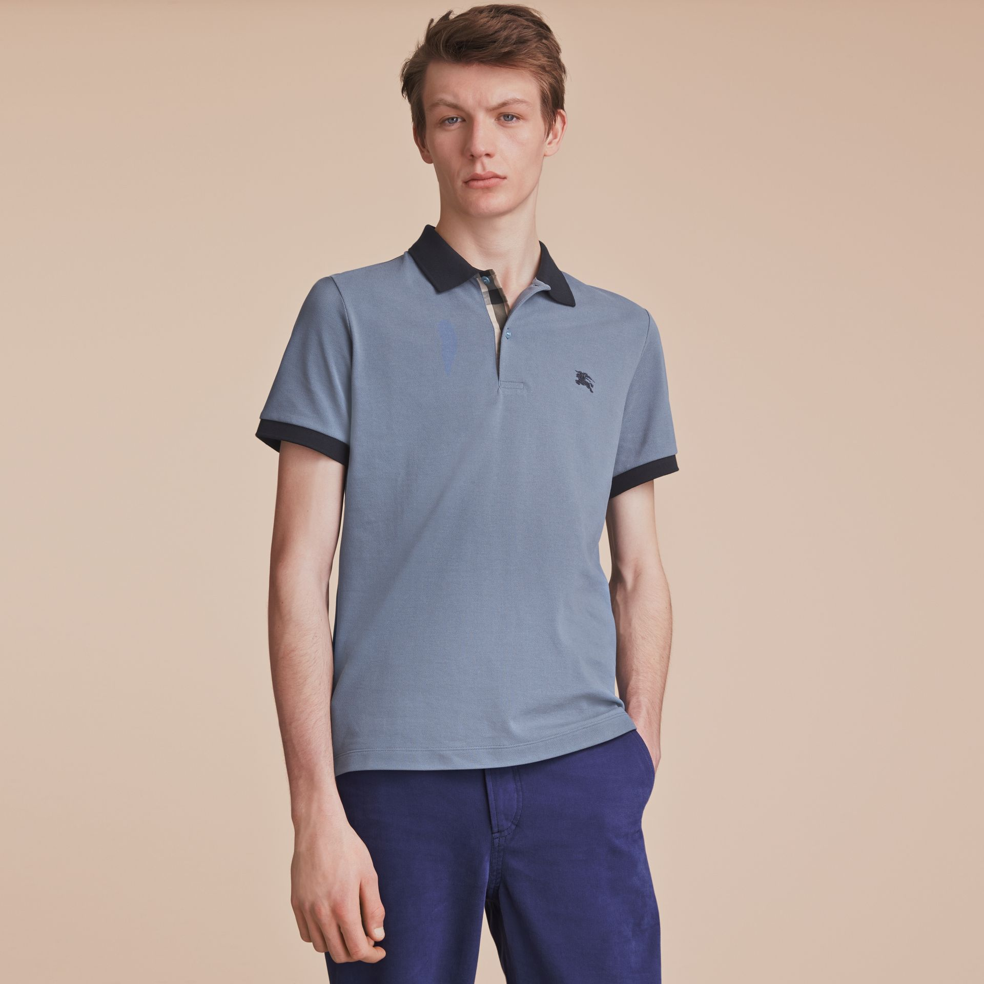 Two-tone Check Placket Cotton Piqué Polo Shirt in Stone Blue - Men | Burberry - gallery image 6