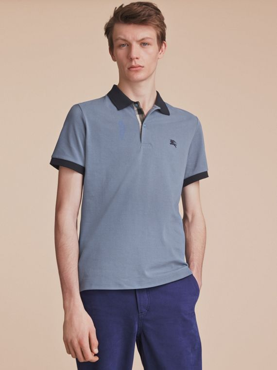 Two-tone Check Placket Cotton Piqué Polo Shirt in Stone Blue - Men | Burberry Australia