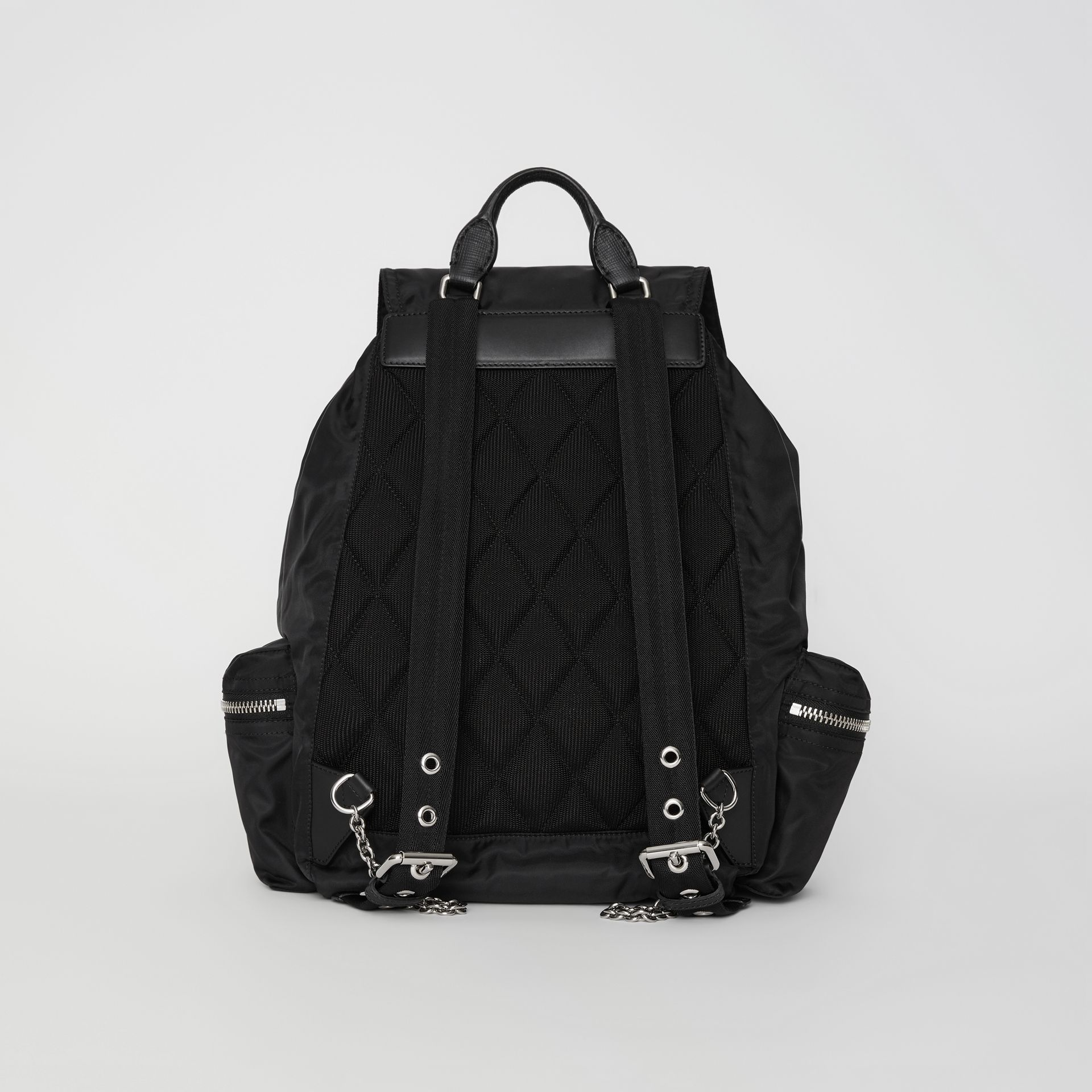 The Large Rucksack in Technical Nylon and Leather in Black - Women | Burberry United Kingdom - gallery image 7