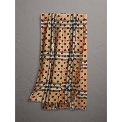 Burberry Spot Print and Check Lightweight Wool Silk Scarf Cheap Sale Low Price Fee Shipping Outlet Locations Cheap Online Low Price Fee Shipping Cheap Sale Looking For Outlet Cheap Authentic psujCC2se