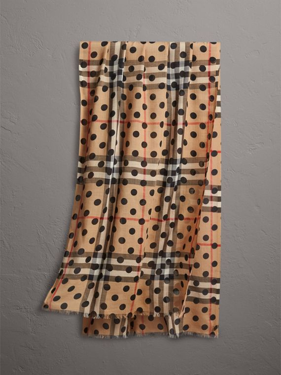 Spot Print and Check Lightweight Wool Silk Scarf in Black