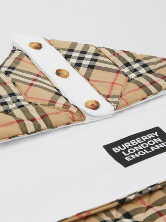 Logo Print Vintage Check Cotton Baby Nest in Archive Beige - Children | Burberry United Kingdom - cell image 1