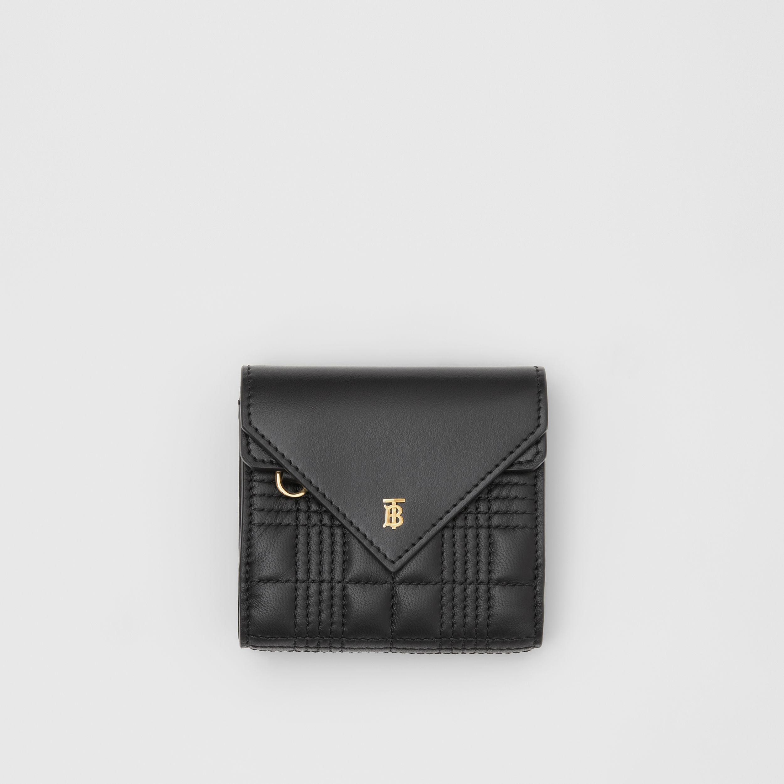 Quilted Lambskin Folding Wallet in Black - Women | Burberry - 1