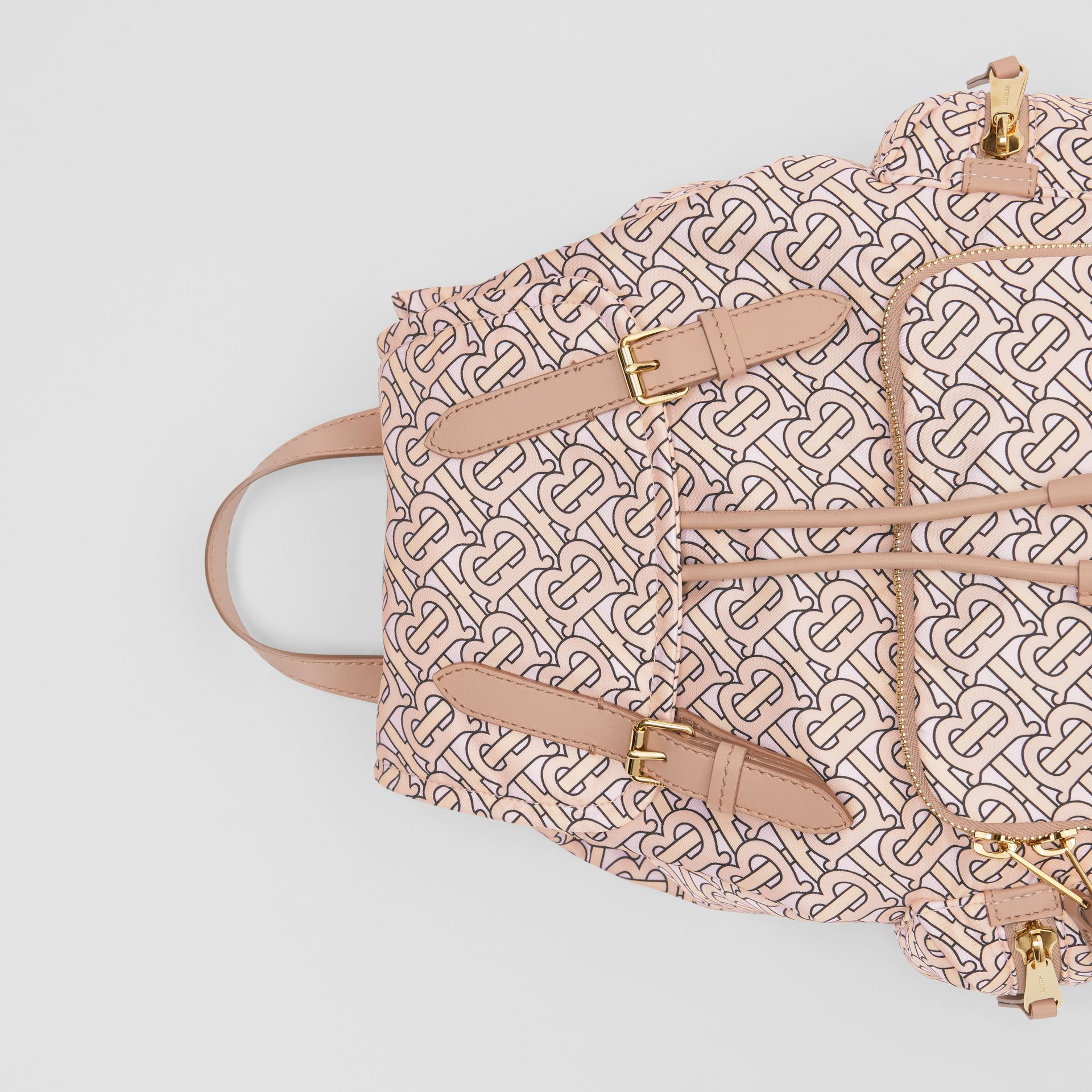 The Medium Rucksack in Monogram Print Nylon in Blush - Women | Burberry Australia - gallery image 1