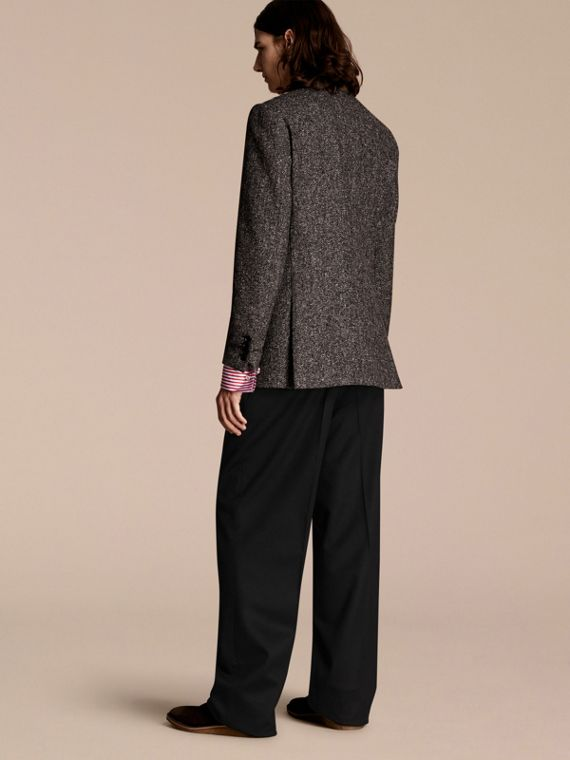 Dark grey Tailored Wool Cashmere Blend Donegal Tweed Jacket - cell image 2