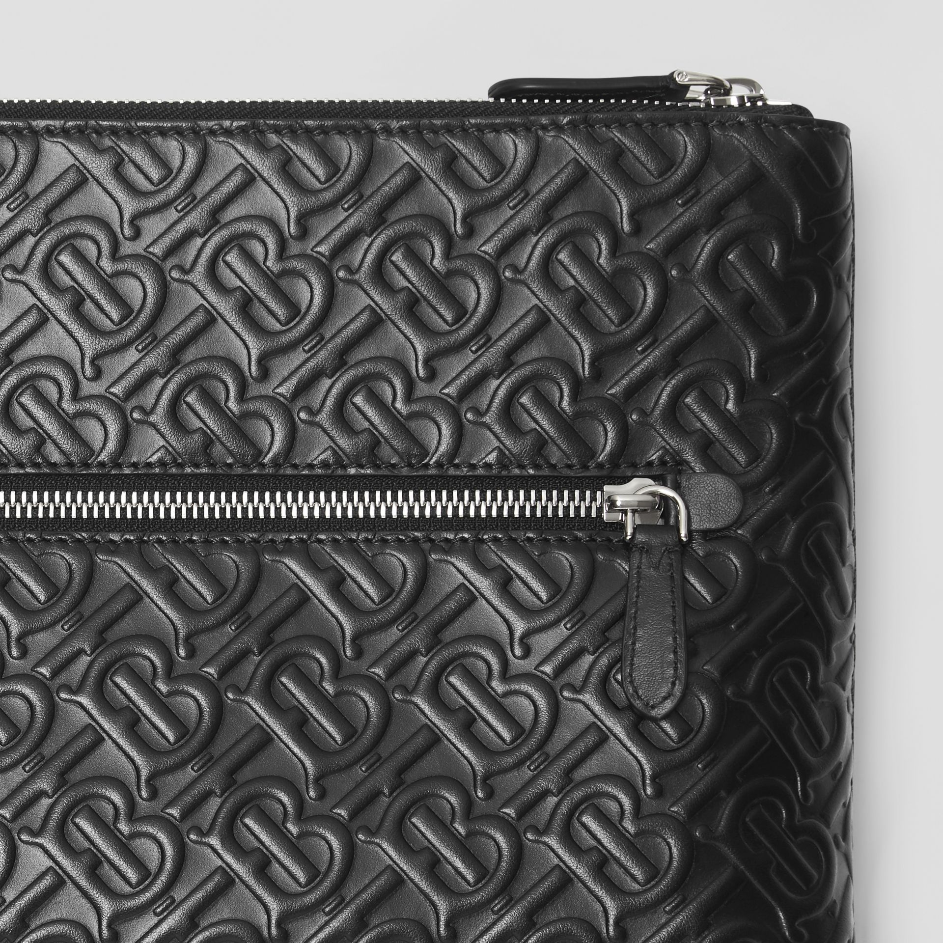 Monogram Leather Zip Pouch in Black - Men | Burberry - gallery image 1
