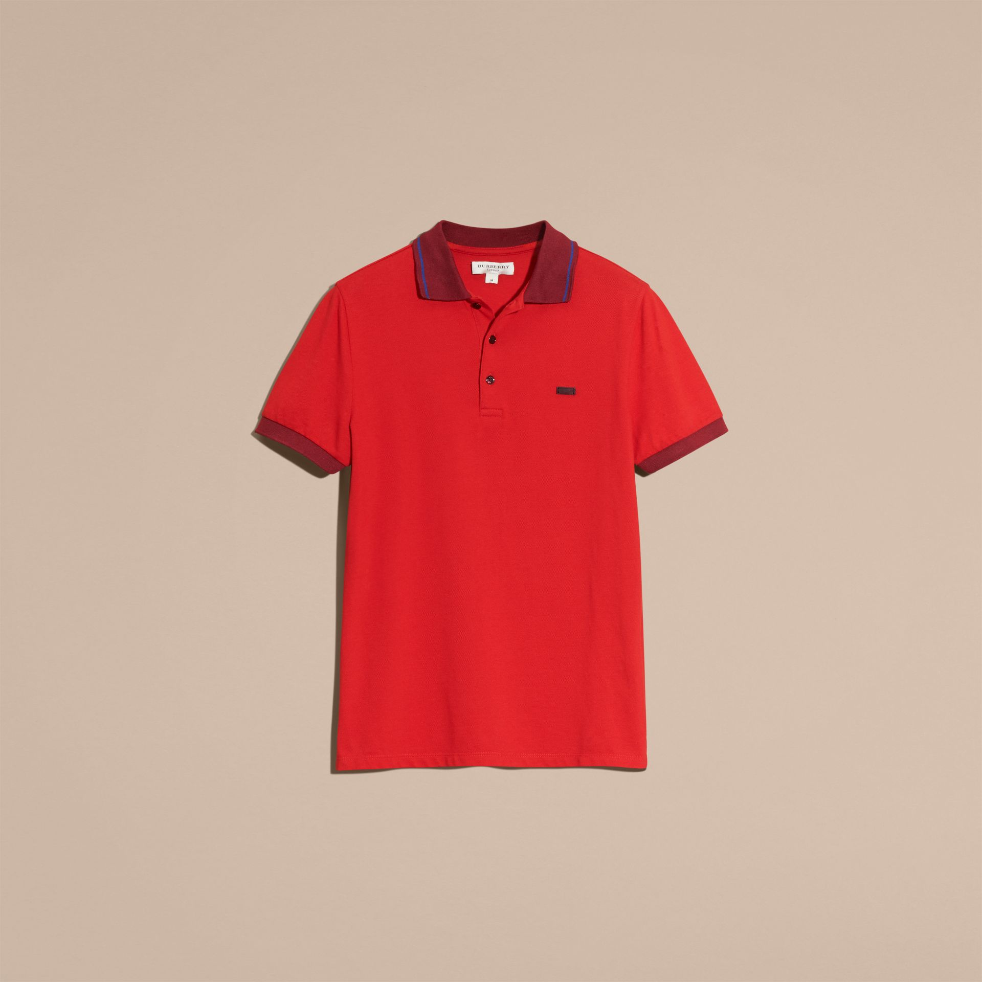 Union red/dark blue Contrast Trim Cotton Piqué Polo Shirt Union Red/dark Blue - gallery image 4