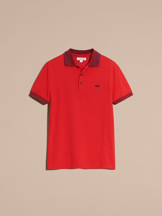 Union red/dark blue Contrast Trim Cotton Piqué Polo Shirt Union Red/dark Blue - cell image 3