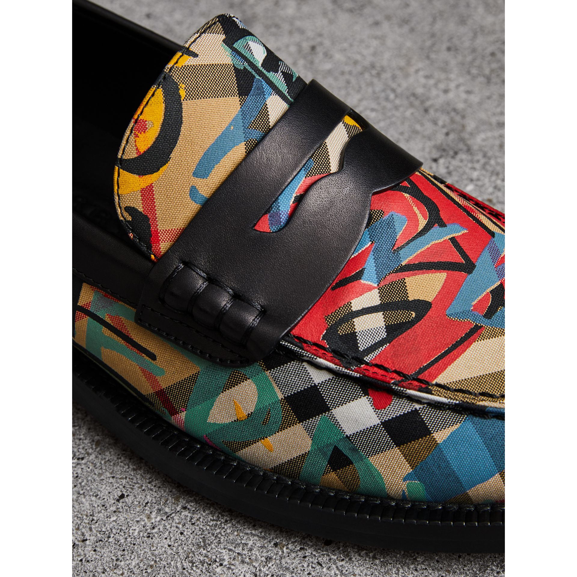 Graffiti Vintage Check Cotton Penny Loafers in Antique Yellow - Women | Burberry United Kingdom - gallery image 1