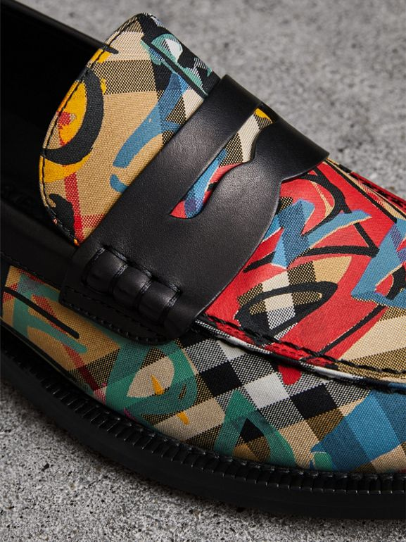 Graffiti Vintage Check Cotton Penny Loafers in Antique Yellow - Women | Burberry Singapore - cell image 1
