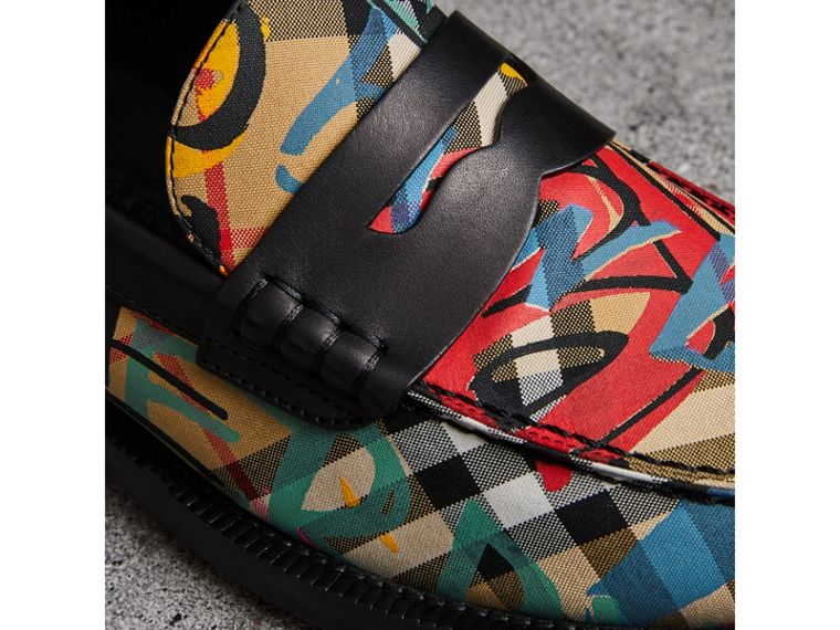 Graffiti Vintage Check Cotton Penny Loafers in Antique Yellow - Women | Burberry United Kingdom - cell image 1