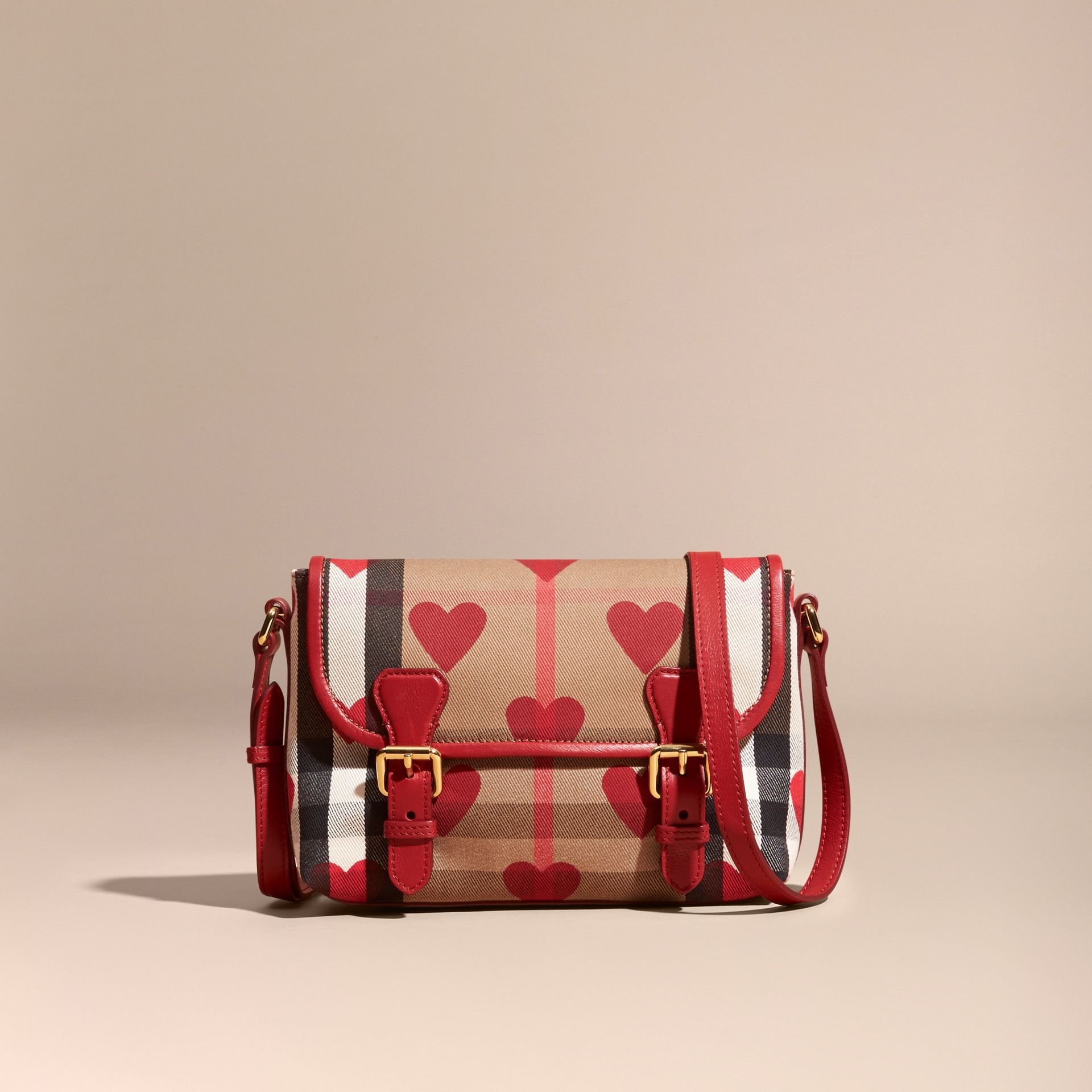 Parade red Hearts and House Check Satchel - gallery image 7