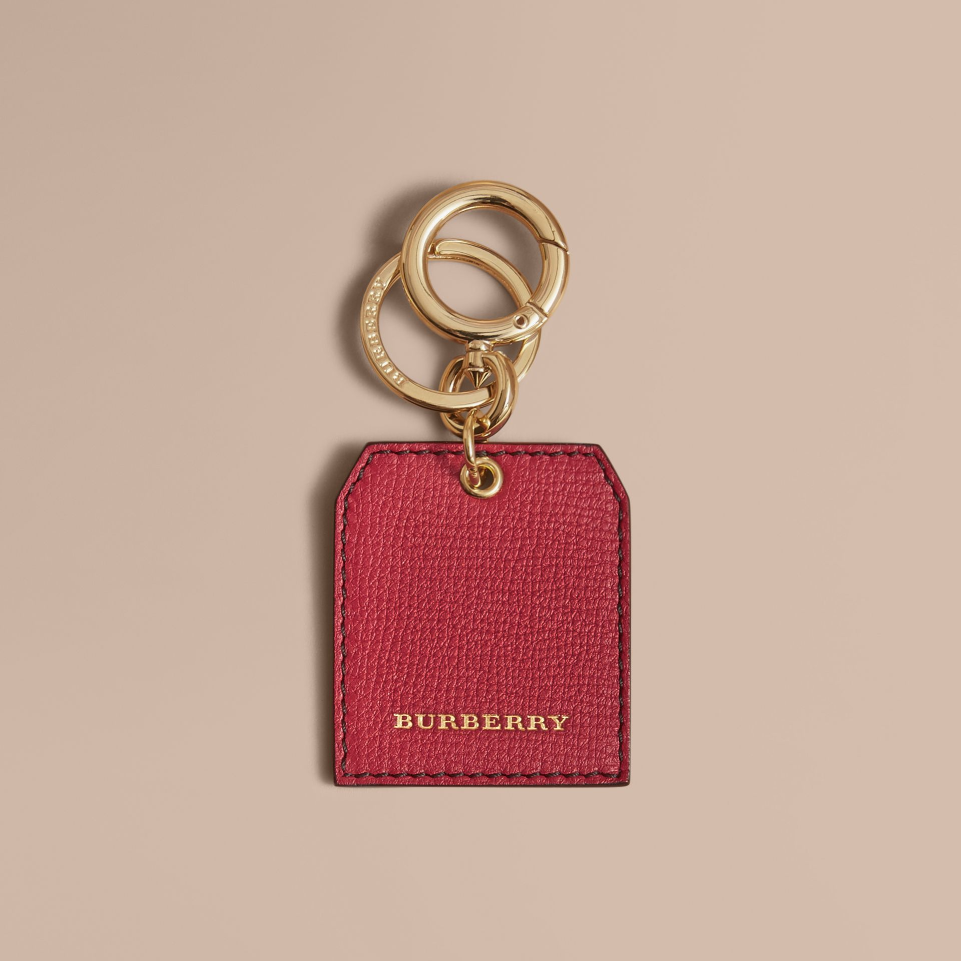 Leather Key Charm in Parade Red - Women | Burberry - gallery image 5