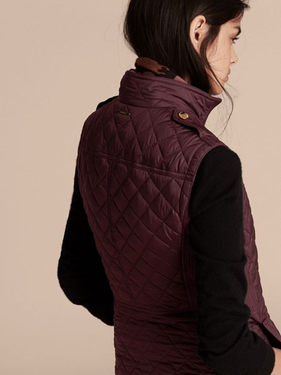 Dark elderberry Diamond Quilted Gilet Dark Elderberry - cell image 2