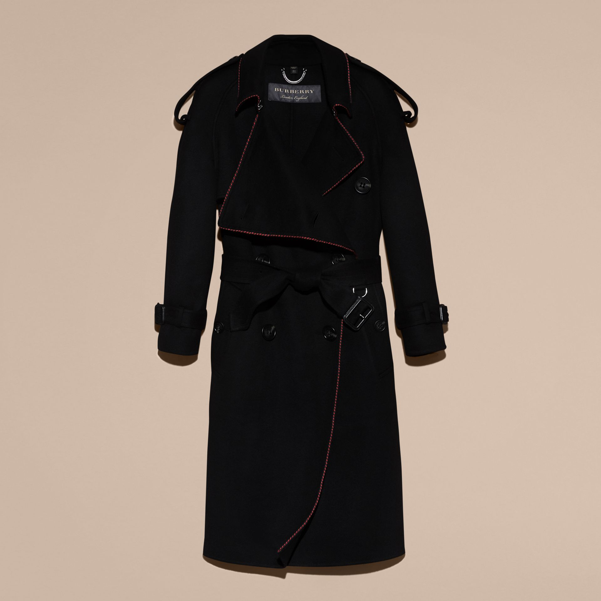 Black Deconstructed Cashmere Wool Trench Coat with Piping - gallery image 4