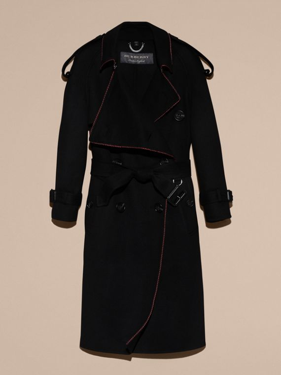 Black Deconstructed Cashmere Wool Trench Coat with Piping - cell image 3