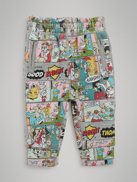 Comic Strip Print Cotton Track Pants in Multicolour