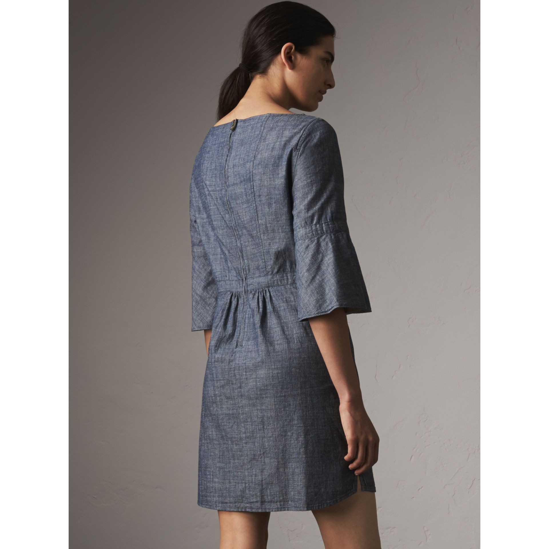 Bell Sleeve Cotton Chambray Dress with Check Detail - Women | Burberry - gallery image 3