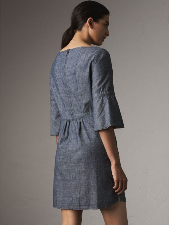 Bell Sleeve Cotton Chambray Dress with Check Detail - Women | Burberry - cell image 2