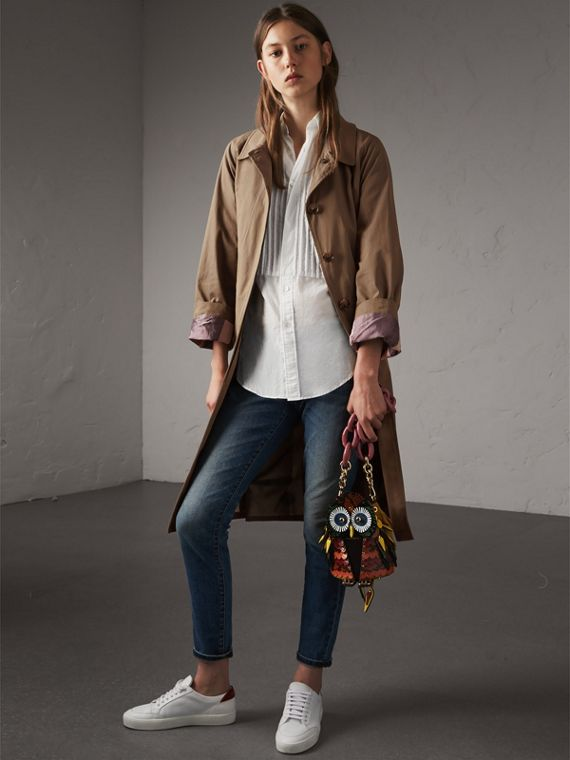 The Owl – Borsa a tracolla in pelle di vitello scamosciata e pelle di serpente (Vino) - Donna | Burberry - cell image 2