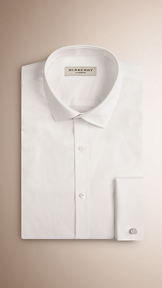 Slim Fit Double-cuff Stretch Cotton Poplin Shirt