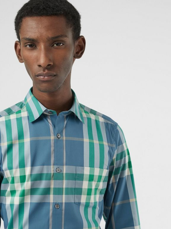 Check Stretch Cotton Shirt in Pewter Blue - Men | Burberry United States - cell image 1