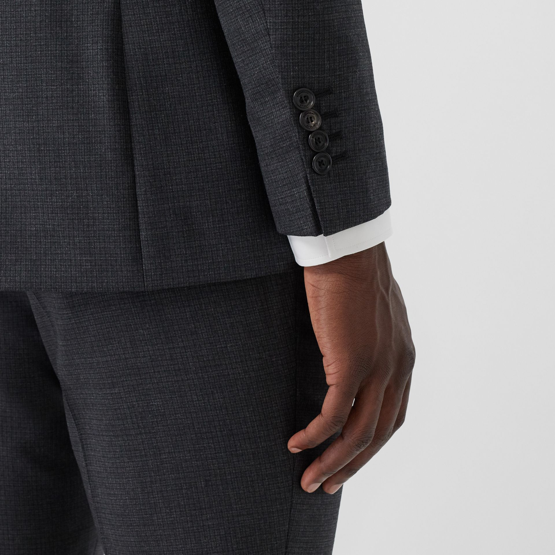 Classic Fit Windowpane Check Wool Three-piece Suit in Charcoal - Men | Burberry - gallery image 4