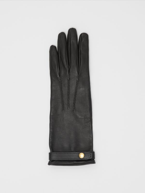 Silk-lined Lambskin Gloves in Black - Women | Burberry United States - cell image 2