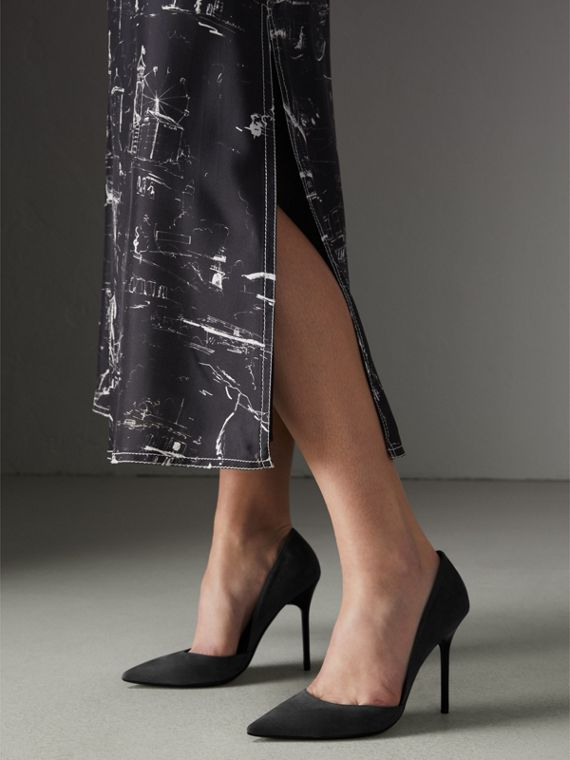Cutaway Suede Pumps in Black - Women | Burberry - cell image 2