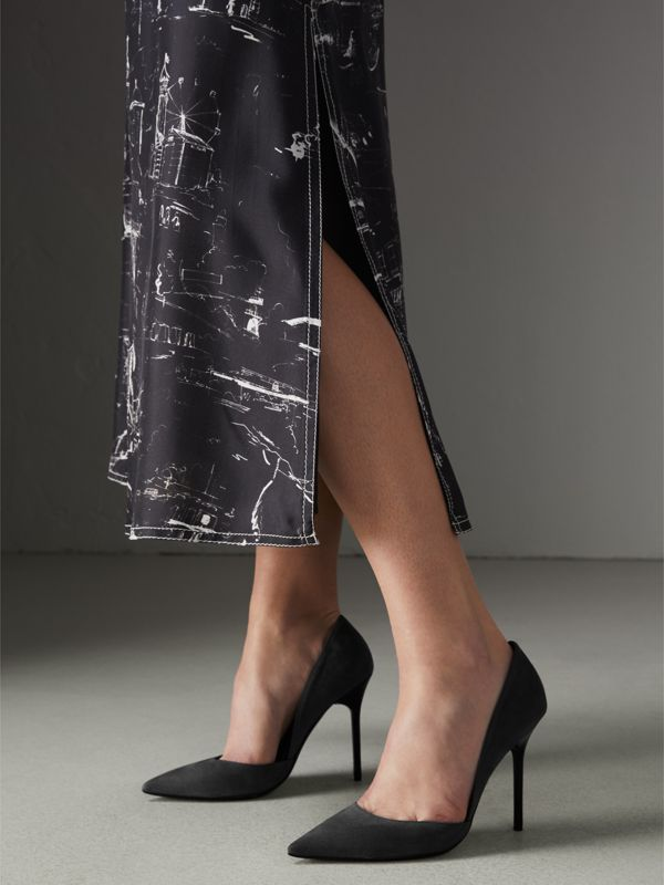 Cutaway Suede Pumps in Black - Women | Burberry Hong Kong - cell image 2