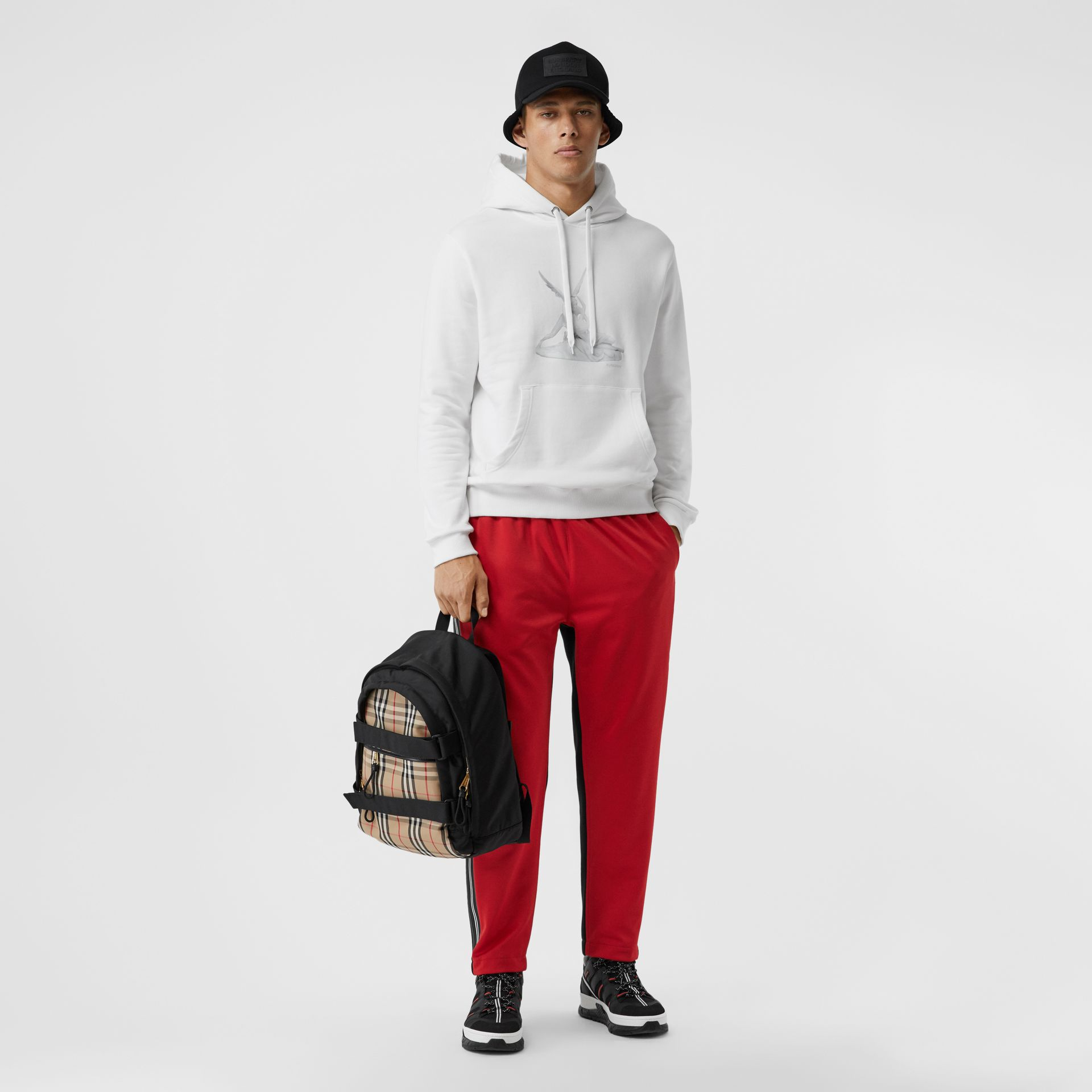 Cupid Print Cotton Oversized Hoodie in White - Men | Burberry Australia - gallery image 0