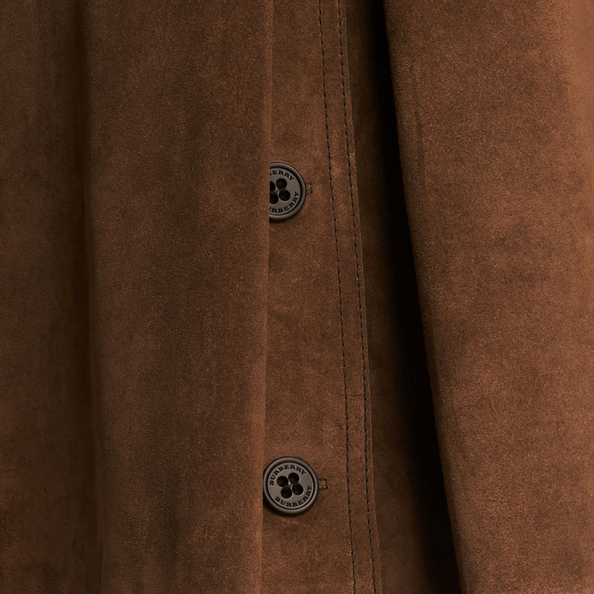 Charcoal brown Double-breasted Suede Coat - gallery image 2