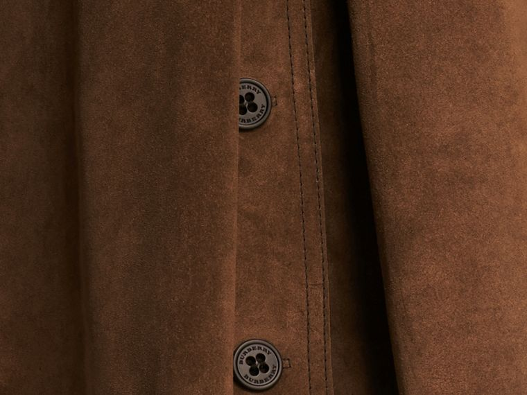 Charcoal brown Double-breasted Suede Coat - cell image 1