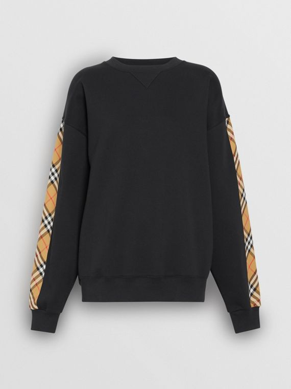 Vintage Check Detail Jersey Sweatshirt in Black