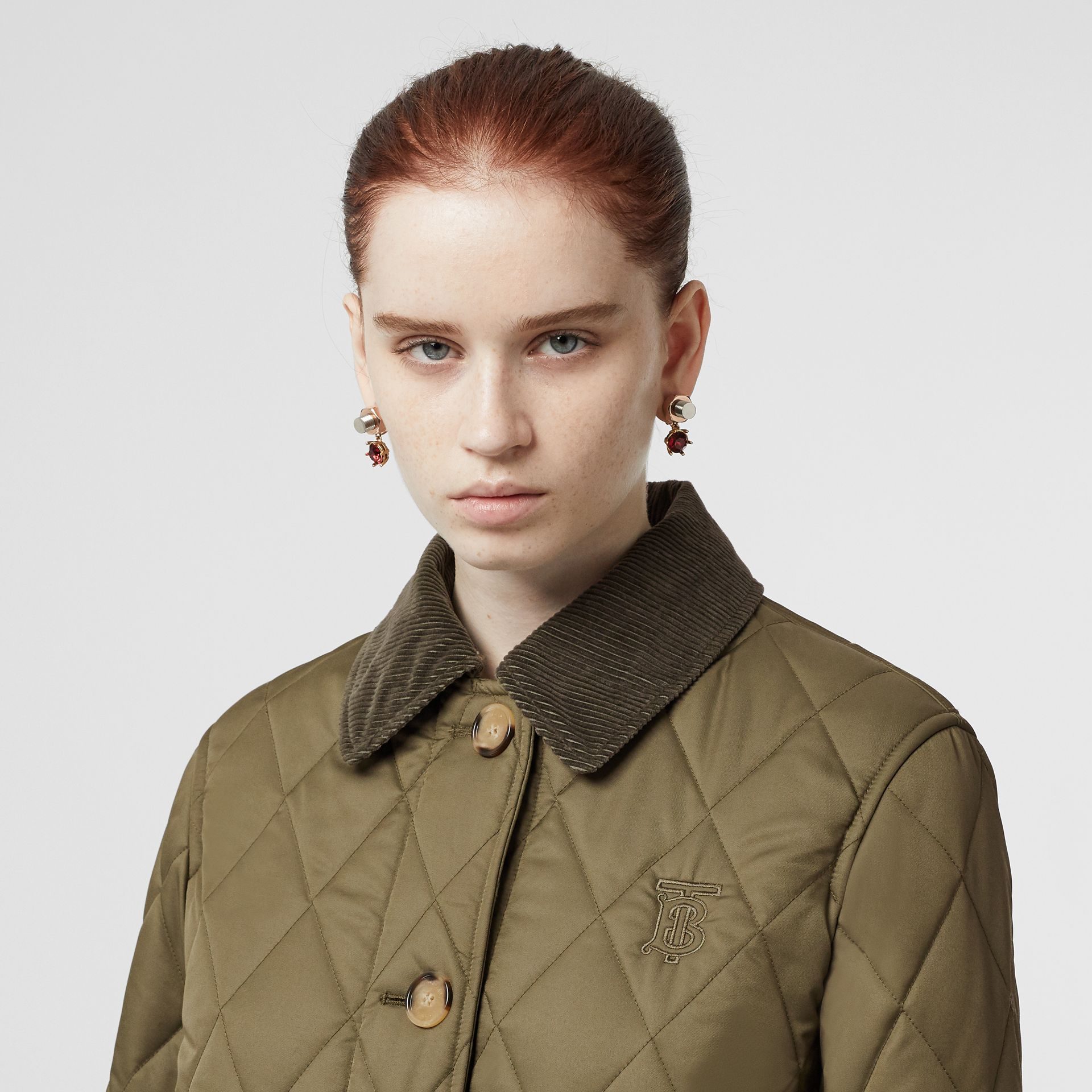 Detachable Hood Monogram Motif Quilted Coat in Olive Green - Women | Burberry - gallery image 1