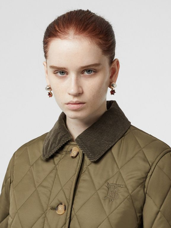 Detachable Hood Monogram Motif Quilted Coat in Olive Green - Women | Burberry - cell image 1