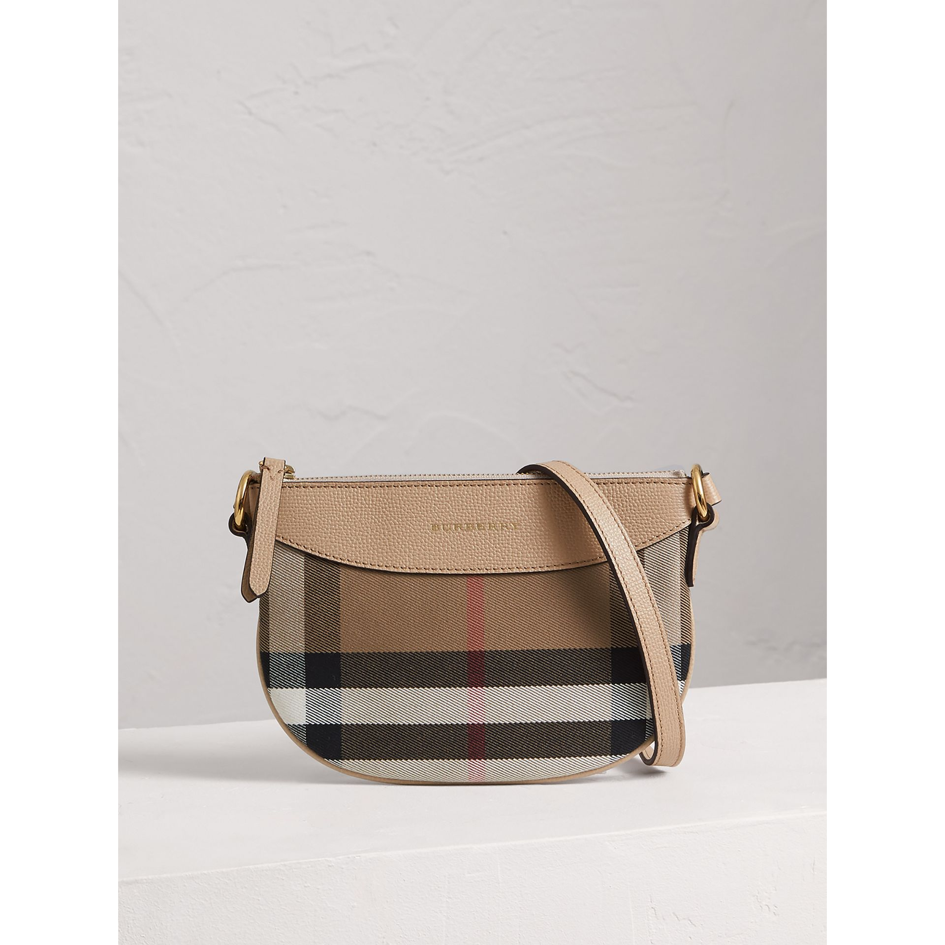 House Check and Leather Crossbody Bag in Chino - Girl | Burberry United Kingdom - gallery image 0