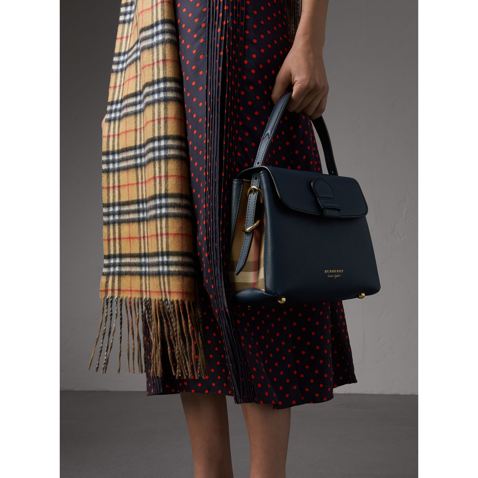 Small Grainy Leather and House Check Tote Bag in Ink Blue - Women | Burberry - gallery image 3