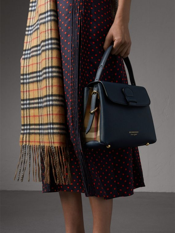 Small Grainy Leather and House Check Tote Bag in Ink Blue - Women | Burberry - cell image 3