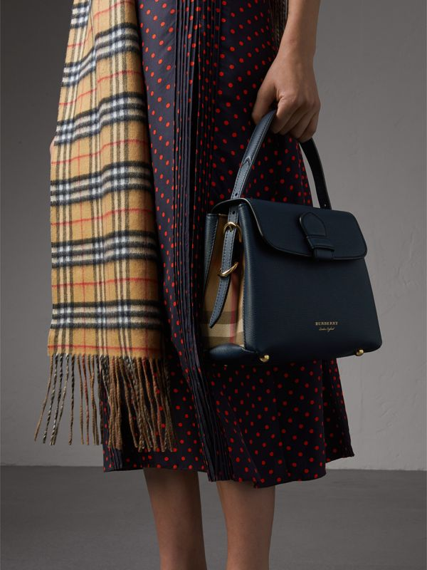 Small Grainy Leather and House Check Tote Bag in Ink Blue - Women | Burberry Canada - cell image 3