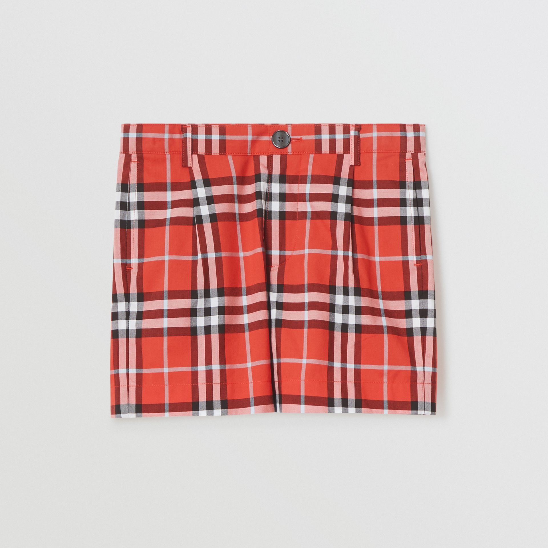 Check Cotton Tailored Shorts in Orange Red | Burberry - gallery image 0