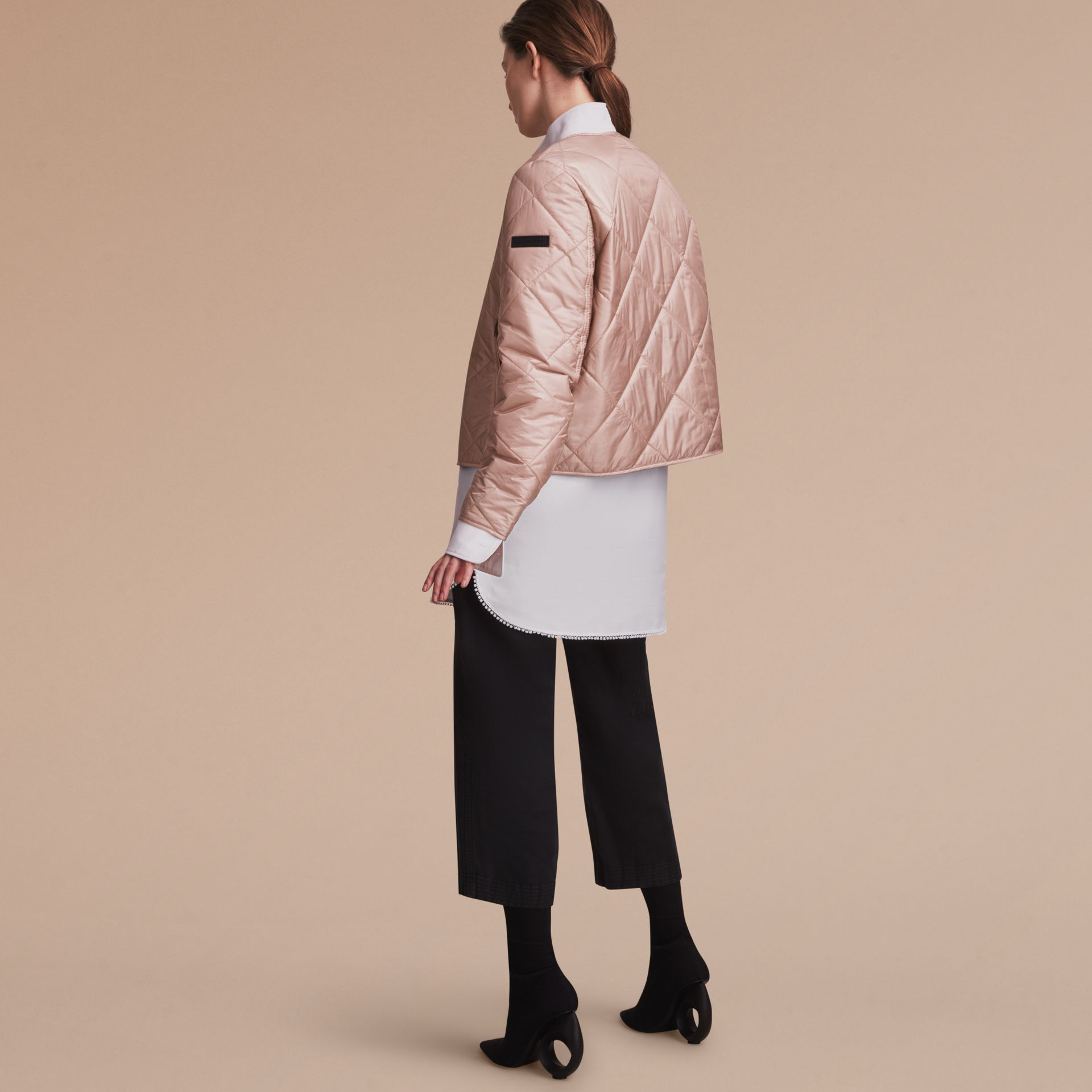 Collarless Diamond Quilted Lightweight Jacket Nude - gallery image 3