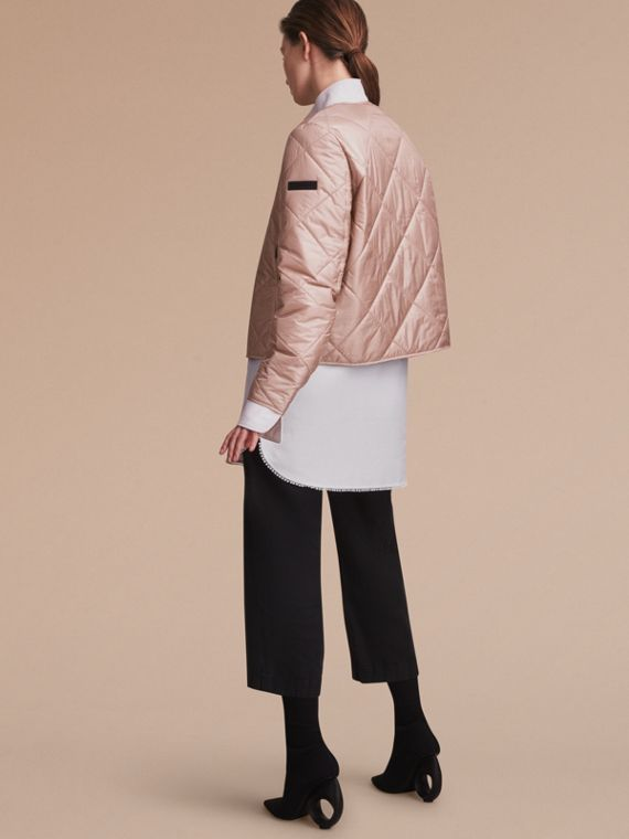 Collarless Diamond Quilted Lightweight Jacket Nude - cell image 2