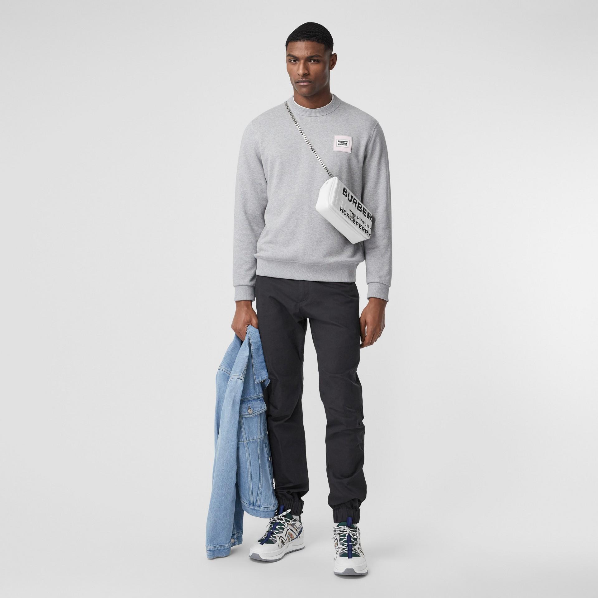Logo Appliqué Cotton Sweatshirt in Pale Grey Melange - Men   Burberry - gallery image 5