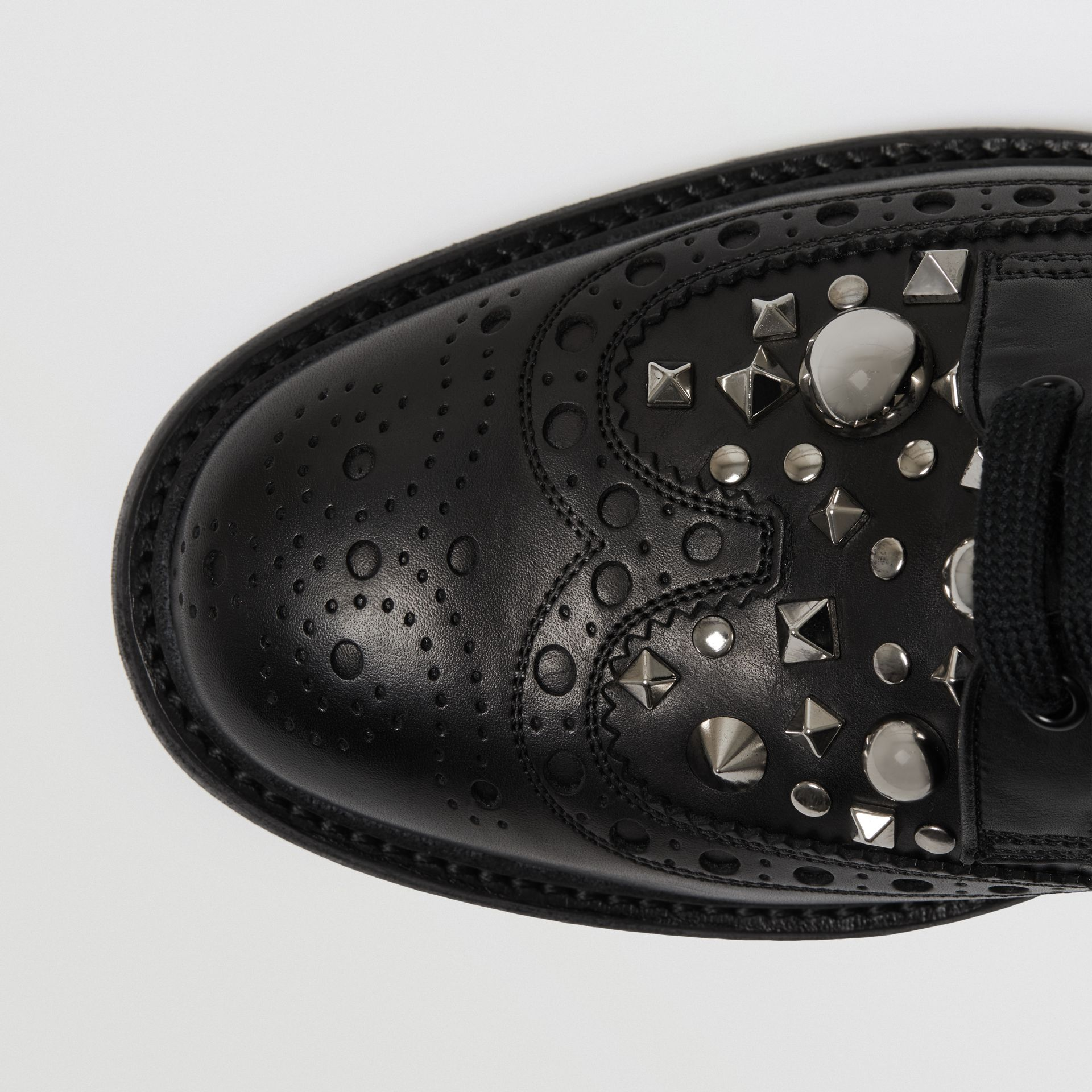 Stud Detail Leather Brogues in Black - Men | Burberry - gallery image 1