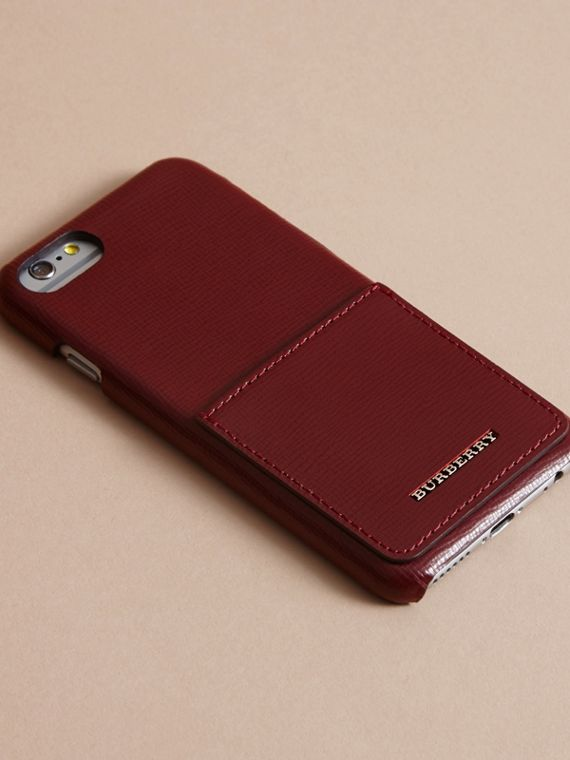 Grainy Leather iPhone 7 Case Burgundy Red - cell image 2