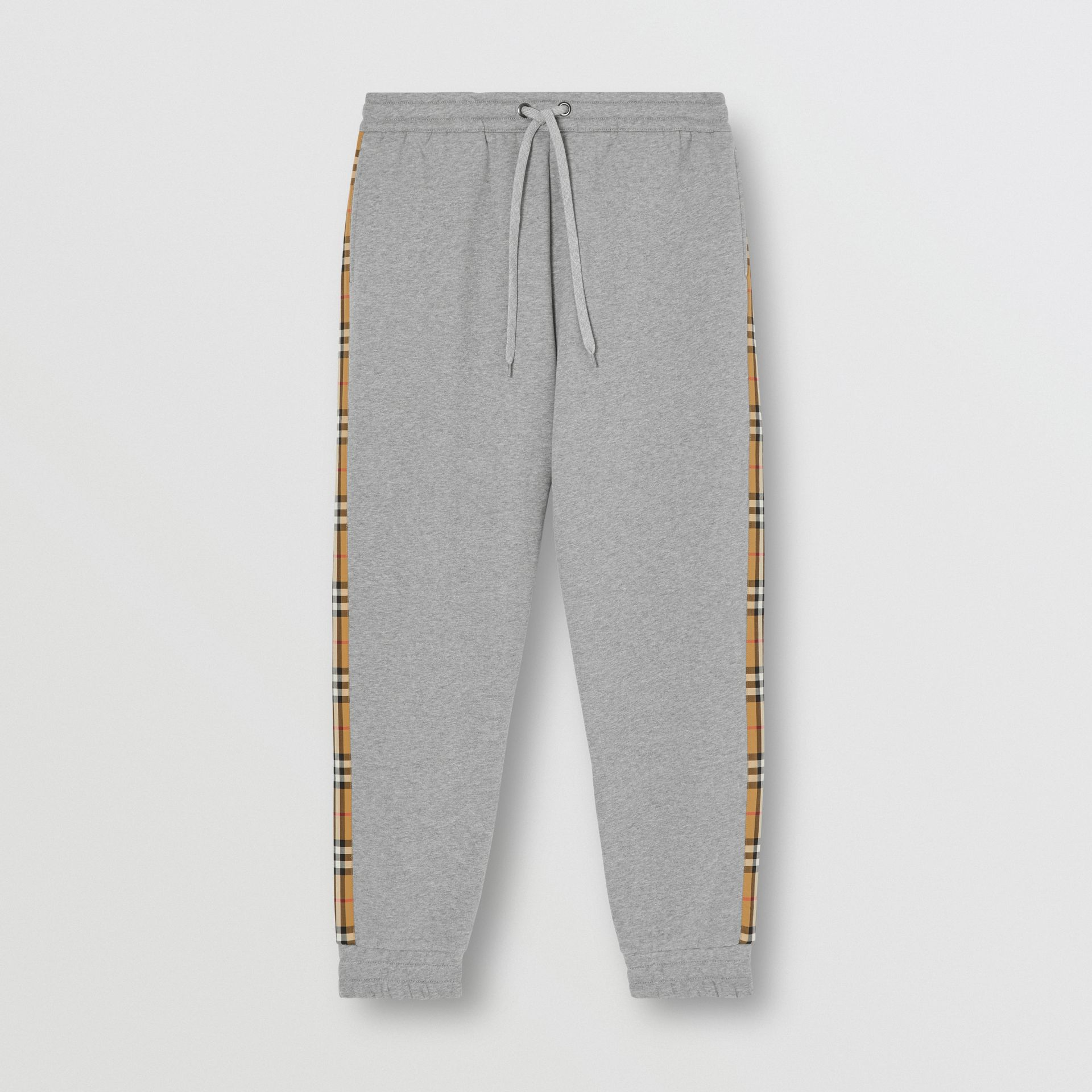Vintage Check Panel Jersey Trackpants in Pale Grey Melange - Men | Burberry - gallery image 3